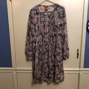 Sundance Watercolor Floral Silk Pleated Dress Med